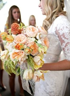 Bridal Bouquets and Wedding Flowers: Pink and orange bouquet
