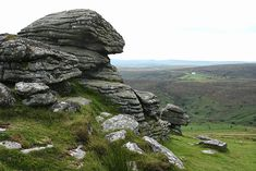 North Bovey: Birch Tor, on Dartmoor, Devon, England. In the distance is the Warren House Inn, on the B3212 road between Moretonhampstead and Princetown. geograph.org.uk
