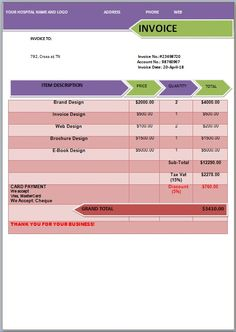 Medical Expense Invoice Template  Medical Invoice Template