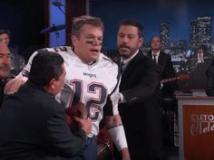 "The fake feud between Jimmy Kimmel and Matt Damon continues. The Great Wall actor ""snuck"" onto Jimmy Kimmel Live on Monday night dressed as New England Patriots quarterback Tom Brady, much to the host's displeasure. Kimmel welcomed Damon as Brady, dressed in his No. 12 Patriots uniform. ""I just haven't had time to change"" since the Super Bowl on Sunday, the guest joked. ""I kinda don't want to ever take it off… It's my lucky helmet,"" he added. Damon couldn't keep the ruse up and was forcibly…"