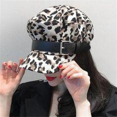 0007f968878 Fashion Leopard baker boy cap for women leather buckle greek fisherman hat