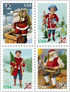 In 1995, USPS celebrated the Victorian and Edwardian eras with this set of 4 stamps inspired by scenes on greeting cards, postcards, and other materials published around the turn of the 20th century.