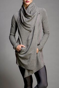 Drape front French Terry jacket with magnetic shawl collar and tailored back.