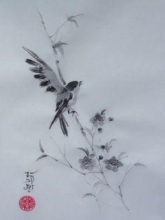 hirondelle peinture japonaise - Buscar con Google