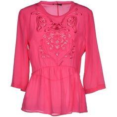 Byblos Blouse ($50) ❤ liked on Polyvore featuring tops, blouses, fuchsia, sequin blouse, round collar blouse, embroidered blouse, ruffle top and embroidery blouses