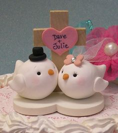 Love Bird Wedding Cake Topper / Keepsake by ButtonwilloeDesigns, $68.00