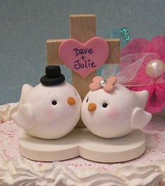 Love Bird Wedding Cake Topper / Keepsake by ButtonwilloeDesigns, $68.00