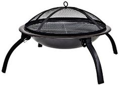 La Hacienda 58106 Camping Firebowl with Grill, Folding Legs and Carry Bag - Black: Amazon.co.uk: Garden & Outdoors
