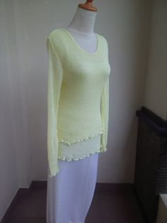 Strick Pullover LIGHT YELLOW Stretch Pulli Feinstrick Oberteil langärmelig Damen…