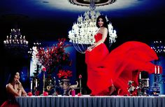 Ingrid Vlasov , dancing,rde dress,candles,chandelier,fashion,style