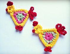 Crochet rooster applique