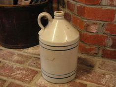 Old Crock Stoneware Jug...Blue stripes...Handle has been repaired.  GREAT for use as a Lamp.