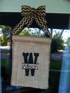 Burlap Door Hanger via Etsy