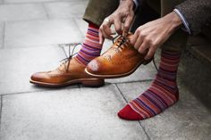 The Nile Red Striped Socks worn with the Tan Aldeburgh Shoe.