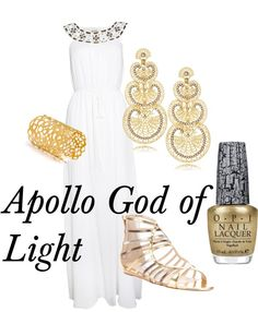 Apollo by rmbuskey featuring yellow gold jewelry Alice by Temperley evening dress, $770 / Jimmy Choo flat sandals, $500 / JOANNADAHDAH yellow gold jewelry / LK Designs gold earrings, $155 / OPI nailpolish, $26Requested by http://theepicmerp.tumblr.com/