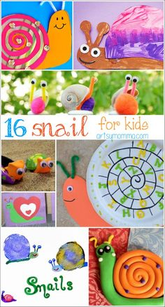 16 Silly Snail Crafts for kids of all ages - Artsy Momma Animal Crafts For Kids, Spring Crafts For Kids, Crafts For Kids To Make, Craft Activities For Kids, Summer Crafts, Projects For Kids, Art For Kids, Insect Crafts, Bug Crafts