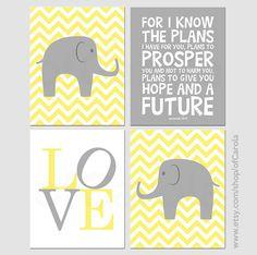 Yellow Gray Chevron Elephant Wall Art Print Set FOUR, Personalized Kids Animals Children Prayer Baby Nursery Room Decor Love White ofCarola