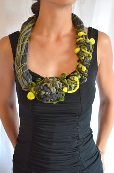 Black and Green Cowl Recycled T shirt Scarf por theELEPHANTpink, $31.50