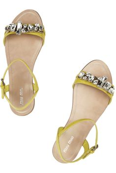 miu miu chartreuse sandals with crystal detail