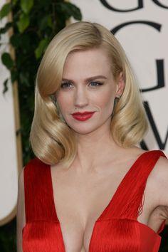 January Jones hair 2011 Golden Globes.