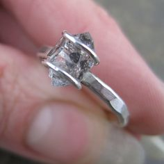Herkimer Diamond Sterling Silver Ring - Size 9 - Quartz Pendant - Handcrafted Artisan Quartz Crystal