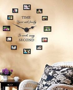 PHOTO-WALL-CLOCK-w-12-PICTURE-FRAMES-Family-Sentiment-Unique-Home-Decor-Gift-New