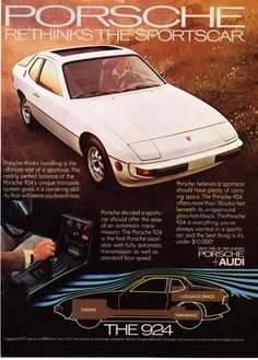 "1978 Porsche 924 Coupe Photo ""Rethinks The Sportscar"" Promo Print Ad 