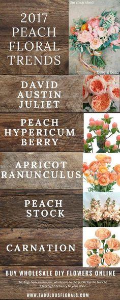 Wedding Trends! Peach Wedding Flowers chart. How to DIY Wedding Flowers