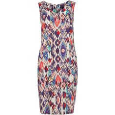 M&S Collection PETITE Ikat Print Shift Dress ($44) ❤ liked on Polyvore featuring dresses, v neck shift dress, petite special occasion dresses, evening dresses, petite evening dresses and holiday dresses