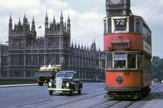 London tram at Westminster Bridge - London 1950s