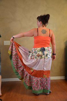 Gypsy patchwork prairie skirt by Linarain on Etsy, $38.00