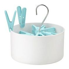 TORKIS, Clothes pin bag & 30 clothes pins, indoor/outdoor white, blue