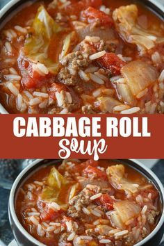 Cabbage Roll Soup - Everything I love about a cabbage roll, but 100 times easier to make! soup Cabbage Roll Soup Recipe Cabbage Roll Soup - Everything I love about a cabbage roll, but 100 times easier to make! Easy Soup Recipes, Healthy Recipes, Cabbage Soup Recipes, Simple Recipes, Stuff Cabbage Soup, Soup With Cabbage, Cabbage Hamburger Soup, Crockpot Cabbage Roll Soup, Cabbage Soup Diet