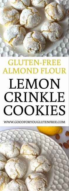 Gluten-Free Almond Flour Lemon Crinkle Cookies Recipe - Good For You Gluten Free --- TO DECARB: Use erythritol/stevia sweetener. recipe gluten free A Gluten-Free Lemon Crinkle Cookies Recipe You'll Love Gluten Free Deserts, Gluten Free Cookie Recipes, Almond Flour Recipes, Gluten Free Sweets, Gluten Free Diet, Foods With Gluten, Coconut Flour, Baking With Almond Flour, Gluten Free Biscuits
