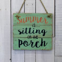 Country Pallet Sign Summer Is Sitting on the Porch Hand Painted... ($22) ❤ liked on Polyvore featuring home, home decor, wall art, aqua, home & living, home décor, wall décor, wall hangings, home sweet home wood sign and personalized wooden signs