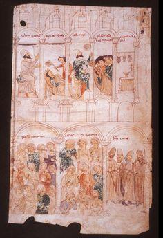 Miniature del cod.120 II della Biblioteca Civica di Berna. De rebus siculis carmen ad honorem Augusti (1195 - 1197). Malattia e morte di guglielmo II. - Popolo e magnati di Palermo piangenti.