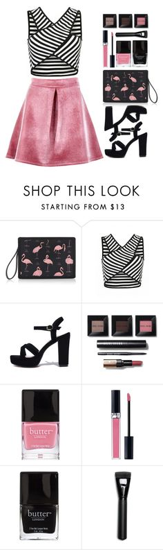 """""""Pink & Black stripes"""" by razone ❤ liked on Polyvore featuring Reine, Bobbi Brown Cosmetics, Butter London, Christian Dior, Morphe and Boohoo"""