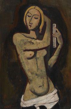 Karl Hofer - Frau, sich kämmend (1949)