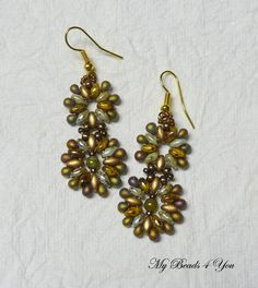 SuperDuo Beadwoven Earrings Beadwork earrings by mybeads4you
