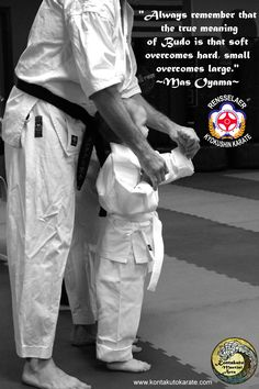 """Always remember that the true meaning of Budo is that soft overcomes hard, small overcomes large""  Mas Oyama"