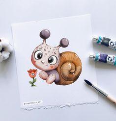 Disney Drawings, Cartoon Drawings, Cute Drawings, Cute Illustration, Watercolor Illustration, Watercolor Art, Baby Animal Drawings, Happy Paintings, Color Pencil Art
