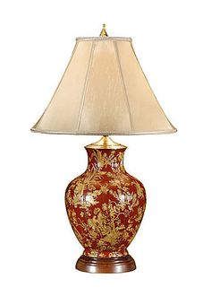 WILDWOOD LAMPS 9110 OXBLOOD AND YELLOW LAMP PORCELAIN