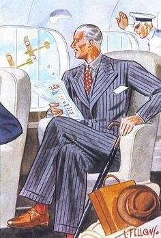 Illustration by Laurence Fellows Vintage Gentleman, Gentleman Style, Vintage Man, 1940s Mens Fashion, Vintage Fashion, Vintage Clothing, Men Fashion, Fashion Illustration Vintage, Illustration Art