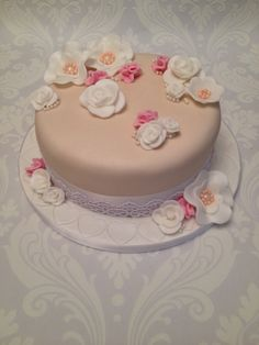 Beautiful Birthday Cake - Peach with Roses