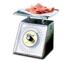 Edlund Deluxe Scale Portion 32 oz x 1/8 oz graduation - #RMD-2    Deluxe Scale, Portion, Dial Type, top loading counter model, rotating dial, sloped face, 32 oz x 1/8 oz graduation, stainless steel construction, with air dashpot, NSF certified Kitchen Scales, Professional Kitchen, Counter, Restaurants, Graduation, Commercial, Construction, Stainless Steel, Type