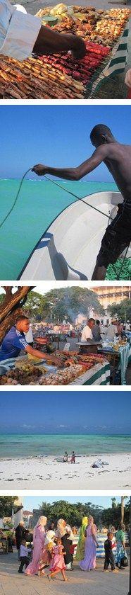 Food markets at dusk and fish fresh from the ocean in Zanzibar