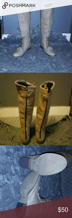 Betsey johnson rally boots Knee high boots Betsey Johnson Shoes Combat & Moto Boots