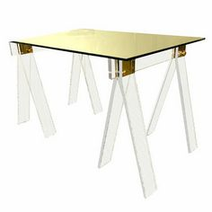 desk lucite saw horses with brass detail - Lucite Desk