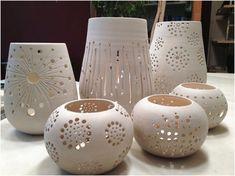How to Decorate Ceramic Tiles Hand Built Pottery, Slab Pottery, Pottery Bowls, Ceramic Pottery, Pottery Art, Clay Candle Holders, Cerámica Ideas, Ceramic Lantern, Ceramic Light