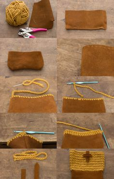 Always Rooney: Learn To Crochet: Yarn and Leather Bag Pattern (replace yarn with beads :)Crochet and Leather bag - Free pattern from AlwaysRooney. Showing how to prepare the leather part for adding the crochet top to it.Always Rooney is dedicated to Crochet Crafts, Crochet Yarn, Crochet Projects, Diy Projects, Crochet Top, Sewing Projects, Crochet Handbags, Crochet Purses, Crochet Clutch